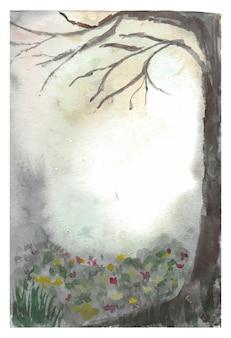 Fondo della pittura a mano dell'acquerello della foresta nebbiosa scura