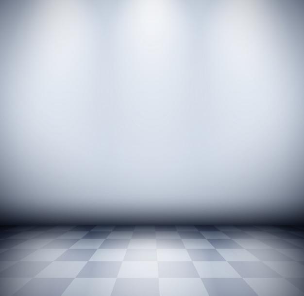 Camera nebbiosa scura con pavimento a scacchi e sfondo muro