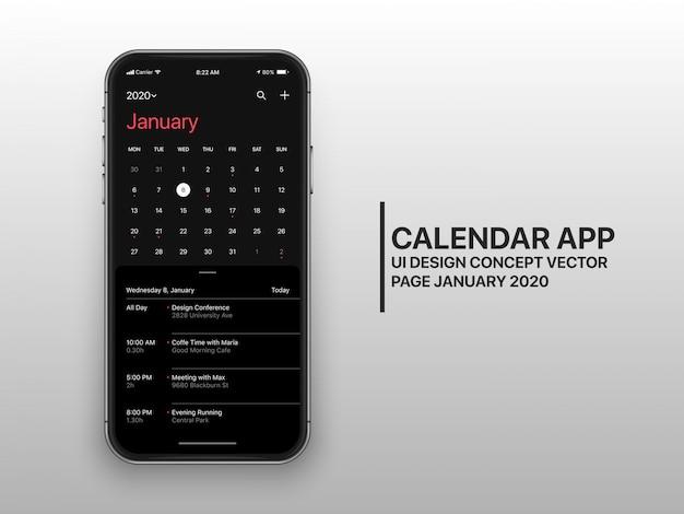 Pagina di concetto dell'interfaccia utente dell'interfaccia utente dell'app calendario scuro modalità gennaio