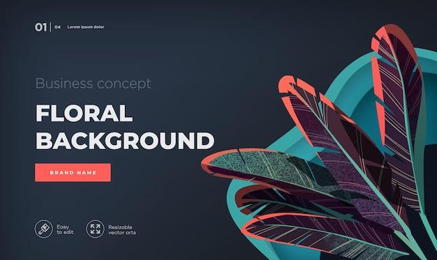 Concetto di design moderno scuro modello di pagina di destinazione illustrazione vettoriale floreale moderna per la pagina web