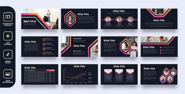 Insieme di modelli di presentazione diapositiva di istruzione moderna scura