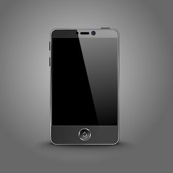 Smartphone moderno scuro con schermo nero isolato su sfondo grigio con posto per il tuo design
