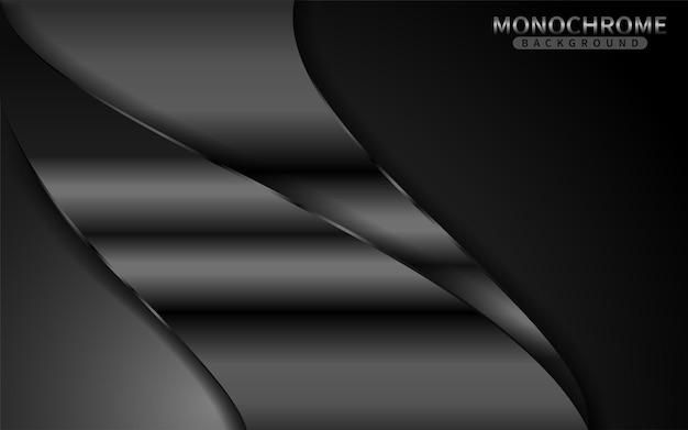 Sfondo monocromatico scuro con combinazione di linee lucide. elemento di design grafico.