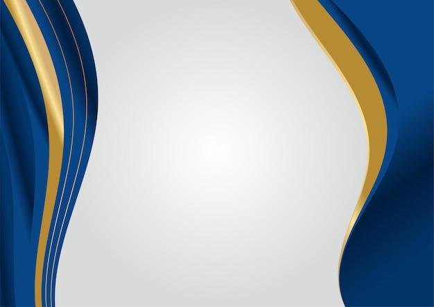 Forme curve blu scuro e oro su sfondo con linee a strisce dorate incandescenti e glitter. lusso ed eleganza. disegno del modello astratto. design per presentazione, banner, copertina.