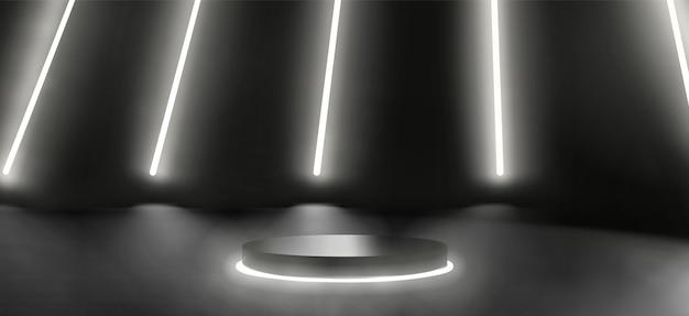 Piattaforma al neon scuro o scena del podio per la presentazione del prodotto