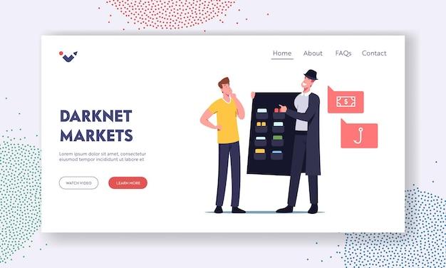 Dark net, servizio darknet di cyber market, modello di pagina di destinazione delle tecnologie virtuali. personaggio utente scegli contenuto proibito presso criminal dealer in black cloak and hat. cartoon persone illustrazione vettoriale