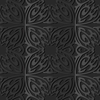 Arte di carta scura curve cross spiral flower frame