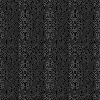 Arte di carta scura spiral curve cross botanic plant frame crest