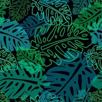 Modello scuro con foglie di palma al neon, vettore tropicale senza soluzione di continuità pttern