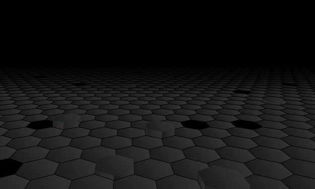 Sfondo di esagono prospettiva scura. illustrazione vettoriale.