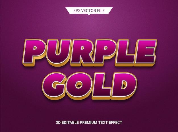 Effetto di testo modificabile 3d lussuoso viola scuro e dorato
