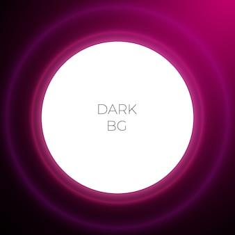 Disegno astratto rotondo viola scuro con luce al neon e spazio per il testo. illustrazione di notte.