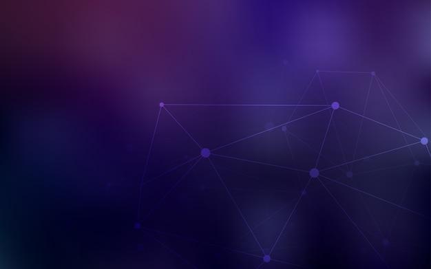 Sfondo vettoriale viola scuro con punti e linee