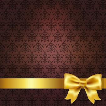 Sfondo damascato rosso scuro con fiocco in oro, illustrazione
