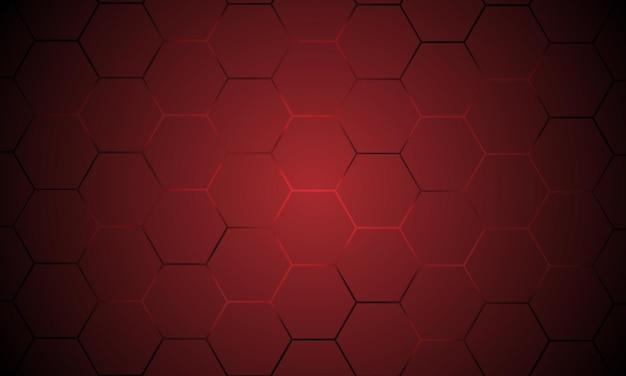 Fondo astratto di vettore di tecnologia esagonale rosso scuro