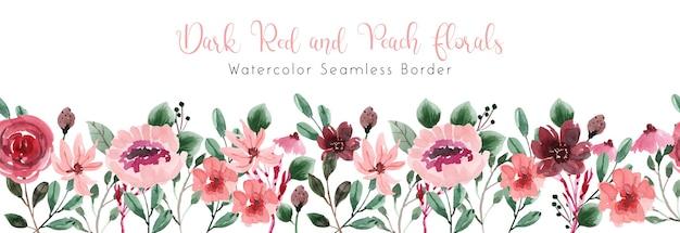 Bordo senza giunte dell'acquerello di fiori rosso scuro e pesca