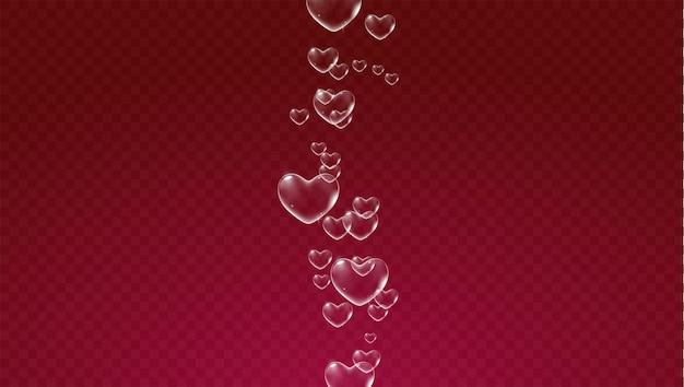 Sfondo trasparente rosso scuro con bolle di sapone bianche a forma di cuore per il vettore di biglietto di san valentino