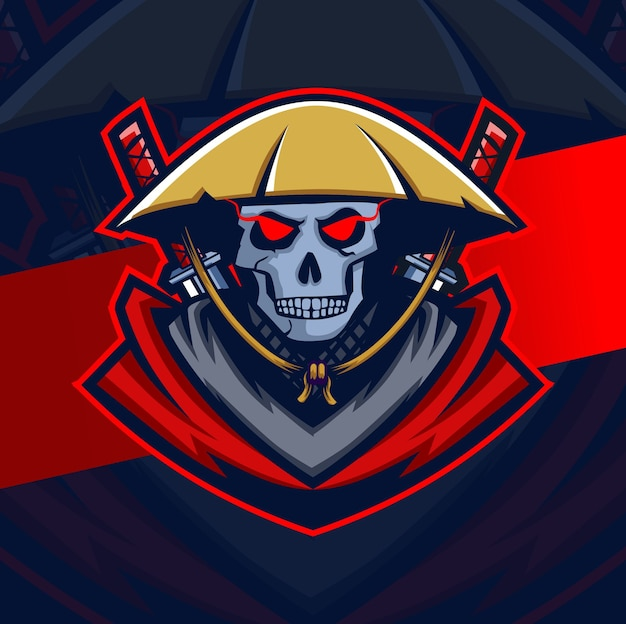 Design logo esport mascotte teschio samurai scuro