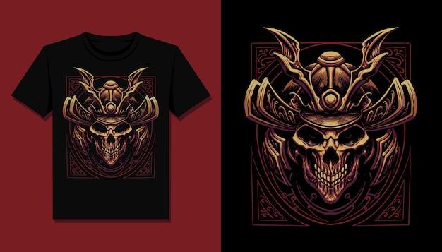 Disegno dell'illustrazione della maglietta del cranio del samurai scuro
