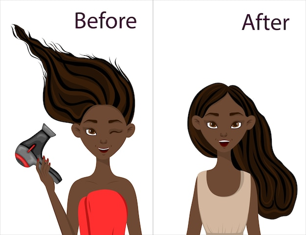 Ragazza dalla carnagione scura prima e dopo l'acconciatura con asciugacapelli. stile cartone animato.