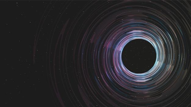 Dark spiral black hole su galaxy background.planet e fisica concept design.