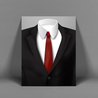Poster di uomo d'affari alla moda scuro con la figura dell'uomo in vestito su sfondo grigio