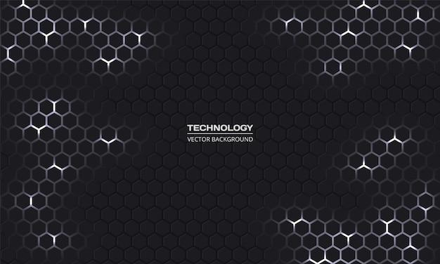 Tecnologia scuro sfondo esagonale. griglia a nido d'ape grigia e bianca.