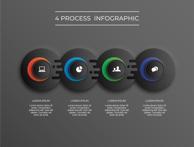 Infografica a tema scuro con quattro cerchi liquidi a 4 processi vettoriali premium