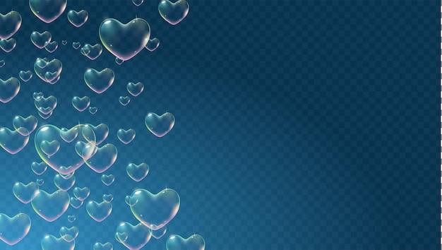 Sfondo trasparente scuro con bolle di sapone a forma di cuore color arcobaleno per il vettore di biglietto di san valentino
