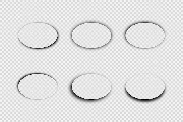 Ombra realistica trasparente scura. set di sei ombre ovali isolate su sfondo trasparente. illustrazione vettoriale.