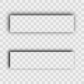 Ombra realistica trasparente scura. set di due ombre di rettangoli isolate su sfondo trasparente. illustrazione vettoriale.