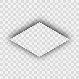 Ombra realistica trasparente scura. ombra di un rombo isolato su sfondo trasparente. illustrazione vettoriale.