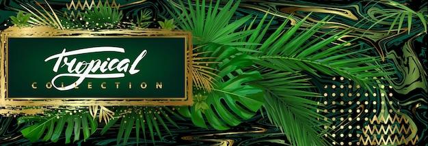 Sfondo tropicale scuro con foglie verdi ed elementi astratti dorati. modello vettoriale