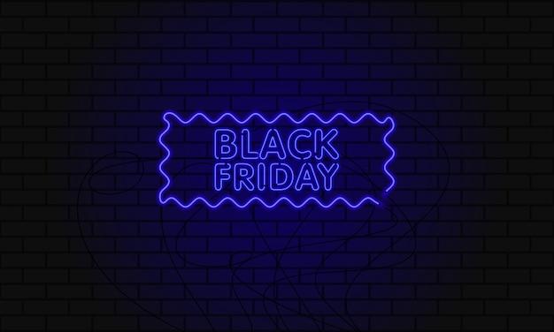 Banner web scuro per la vendita del black friday. tabellone per le affissioni blu al neon moderno sul muro di mattoni.