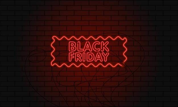 Banner web scuro per la vendita del black friday. tabellone per le affissioni rosso al neon moderno sul muro di mattoni.