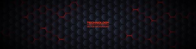 Banner di tecnologia astratta esagonale largo scuro d