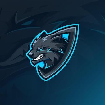 Modello di logo mascotte di gioco del lupo scuro