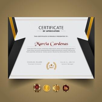 Modello di certificato scuro e giallo