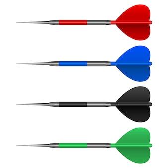 Illustrazione di progettazione stabilita delle frecce del dardo isolata su fondo bianco