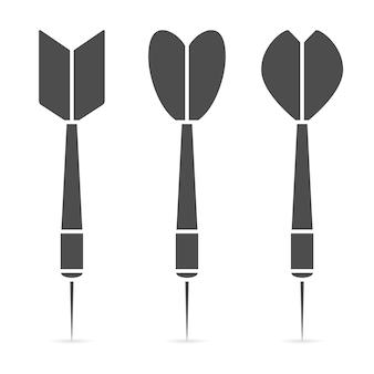 Insieme dell'icona del dardo. collezione di freccette realistiche. illustrazione vettoriale.