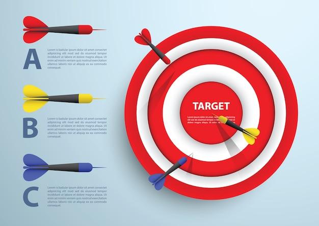 Dardo e bersaglio modello infographic, concetto di affari
