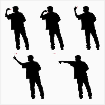Illustrazione di vettore della siluetta di sequenza di lancio del dardo