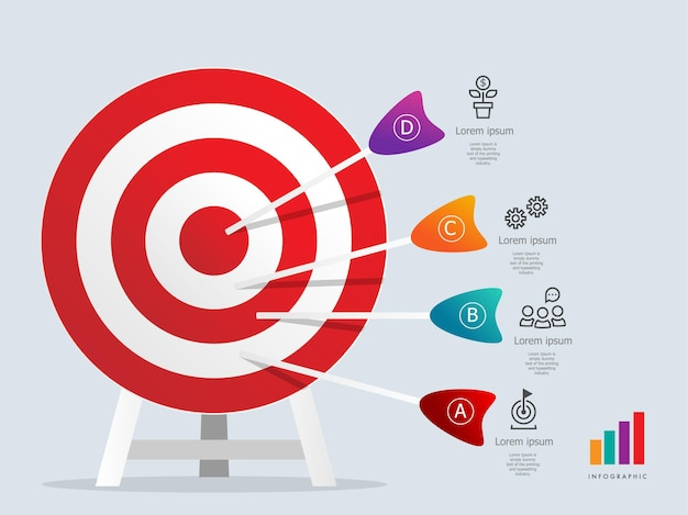 Dartboarad target infographics element template with business icons 4 steps presentation