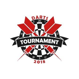 Logo del torneo di freccette modello per l'emblema del campionato sportivo con freccette e nastro
