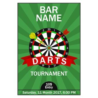 Poster del torneo di freccette modello di progettazione per la carta di invito allo sport del campionato con freccette