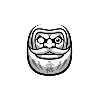 Daruma design in bianco e nero