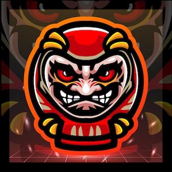Daruma bambole mascotte esport logo design