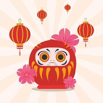 Bambola giapponese daruma con lanterne