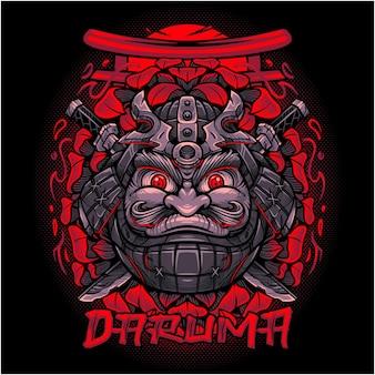 Disegno del logo della mascotte di daruma