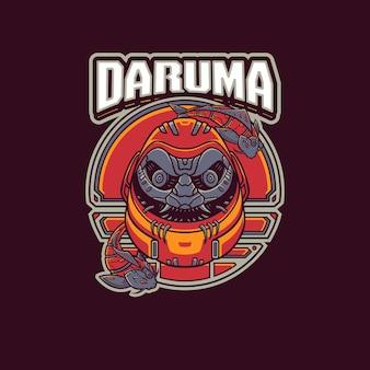 Modello di logo della mascotte di daruma